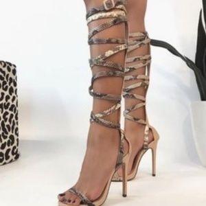 Snakeskin Strappy Heels - NEW NEW